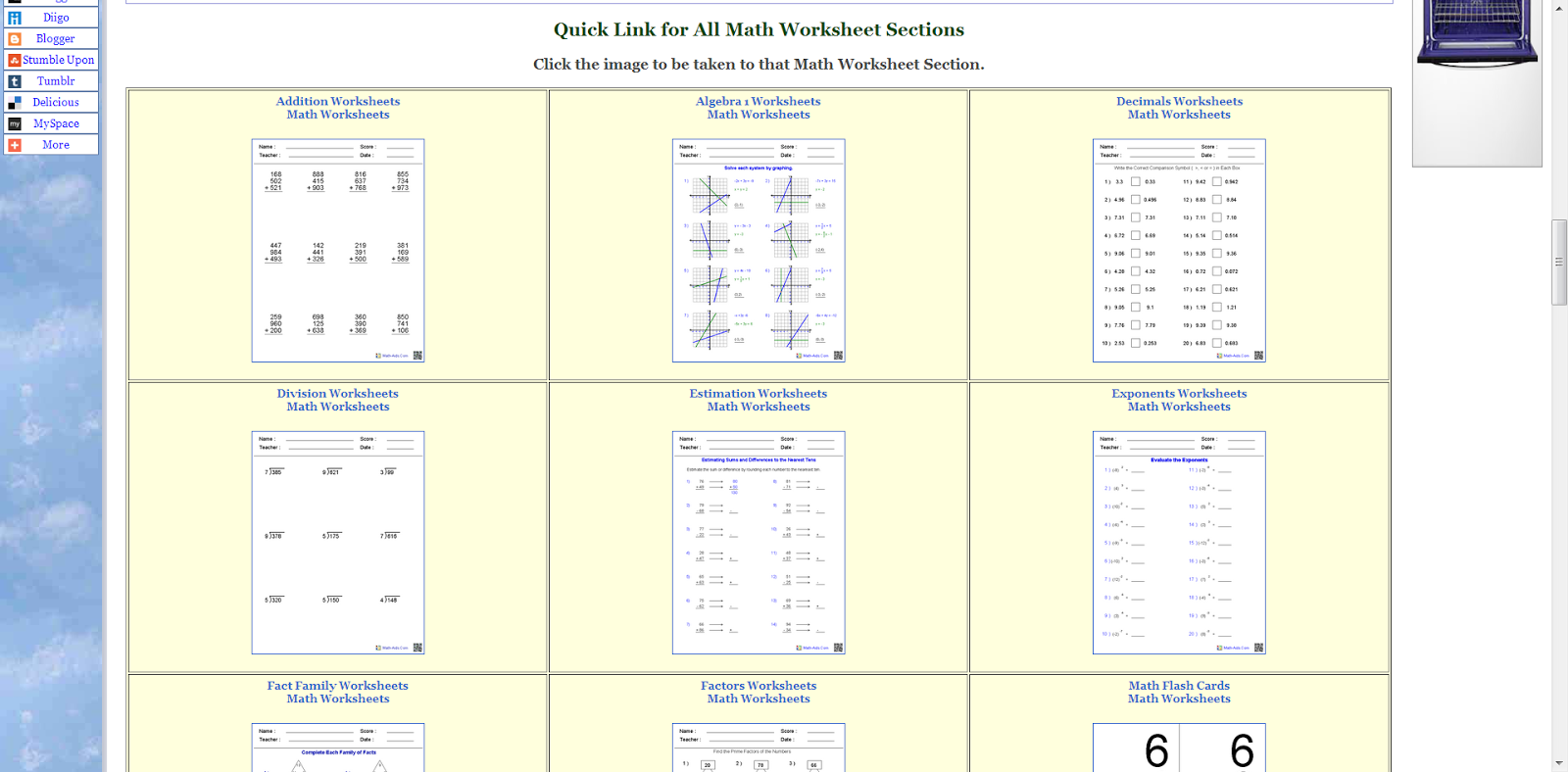 Learning Never Stops 56 great math websites for students of any age – Math in Focus Worksheets