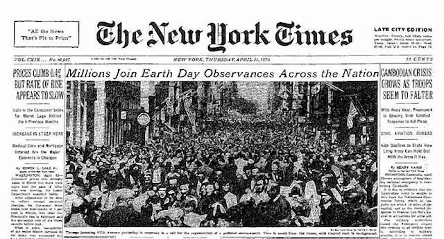 A grande m�dia deu cobertura excepcional ao 1� Earth Day com coment�rios at� delirantes.