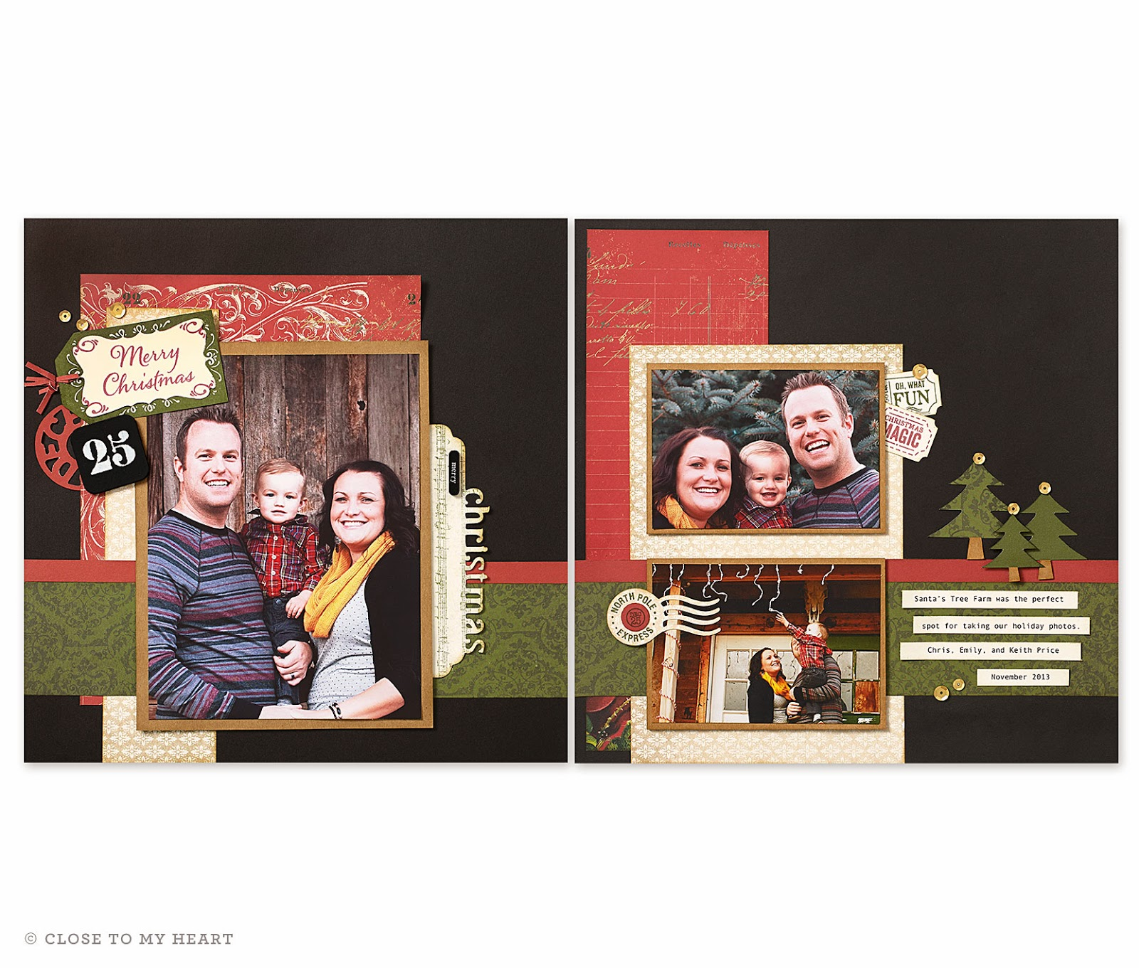CTMH Yuletide Carol Holiday Scrapbook Layout