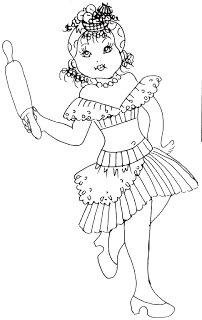desenho de baiana com rolo de massas