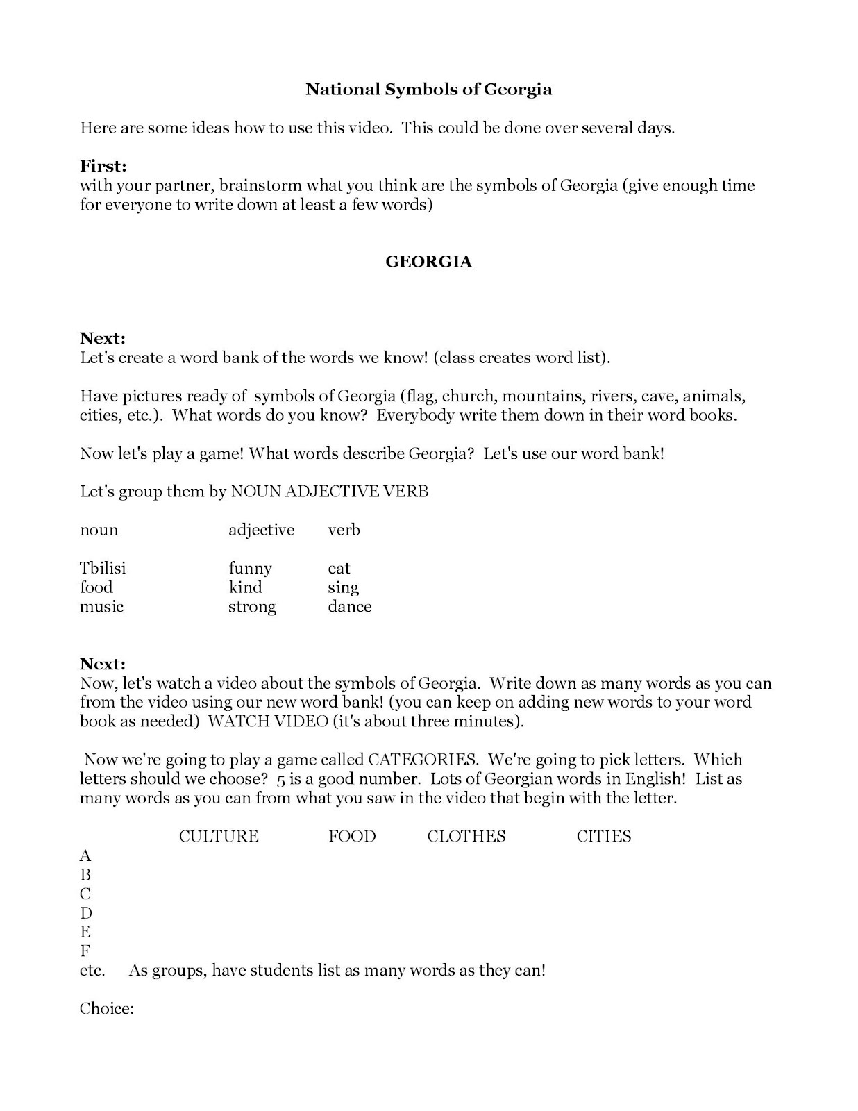 English language through civic education elce march 2012 national symbols of georgia video worksheet downloadable robcynllc Choice Image
