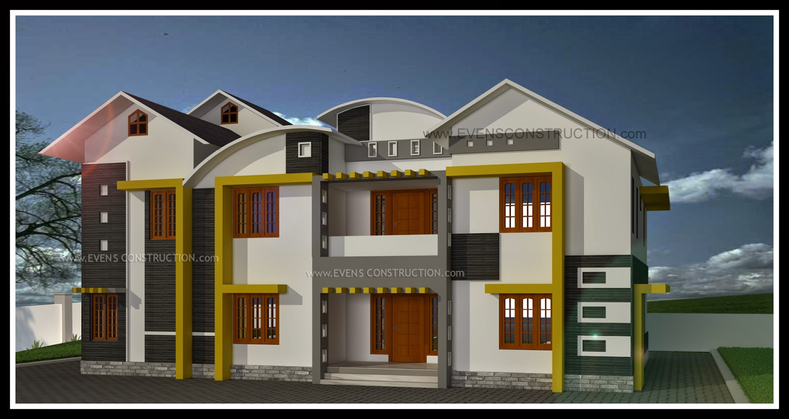 Evens Construction Pvt Ltd Super Luxury Home Elevation