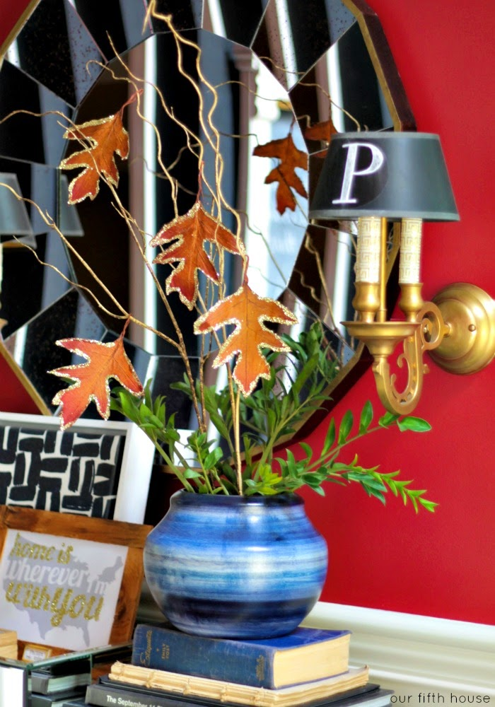 easy fall decor - branches and glitter dipped leaves
