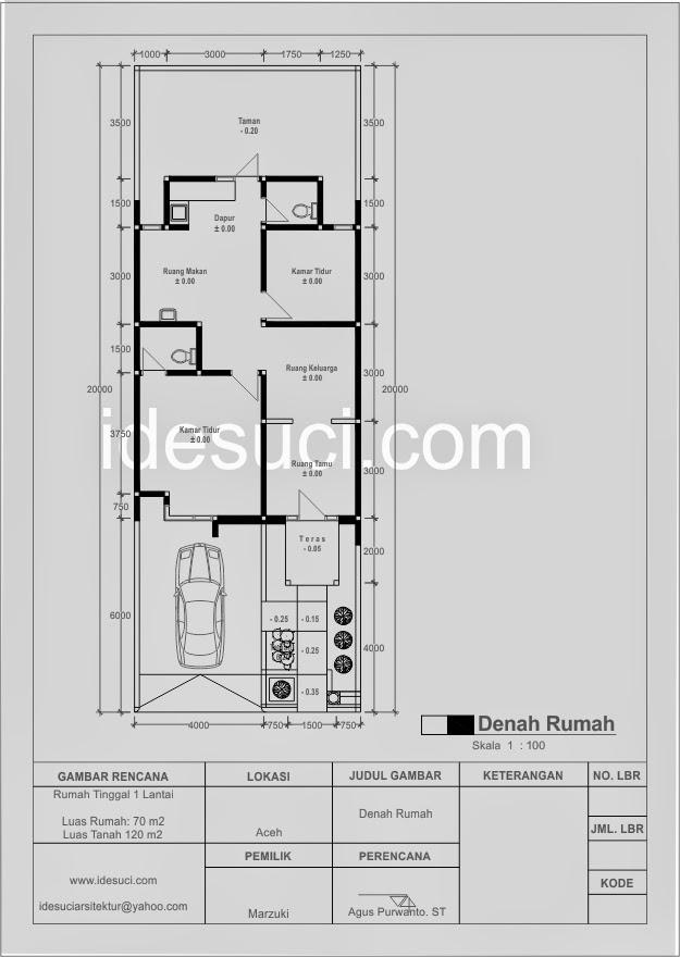 contoh denah rumah 2 kamar tidur