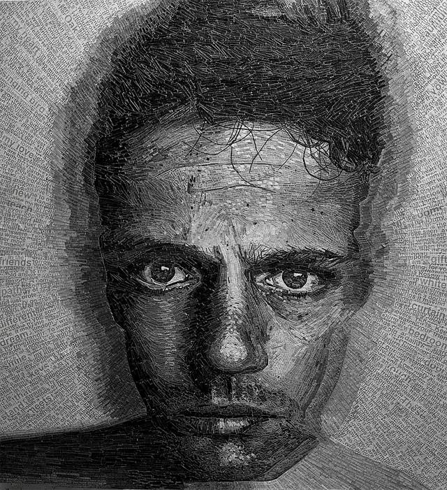 "U.K. based artist Jamie Poole creates large scale portraits using strips of paper cut from poems and pieced together with painstaking precision. For his latest project Jamie used love letters and poems that his fiancé wrote to him over the last 2 years to create this incredible life-like self portrait. Jamie says of his work, ""As text is layered the words, lines and phrases are repeated and embedded into the work creating a unifying physicality."""