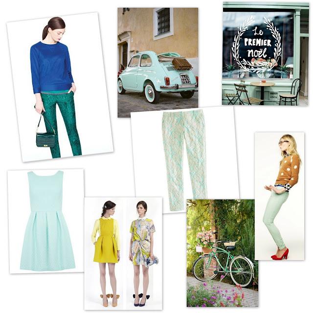 blue-green brocade dress