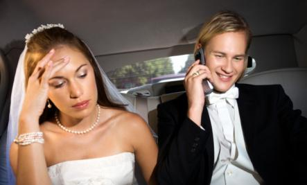 Why Your Cell Phone Is Bad for Your Relationship  - busy man groom bride sad