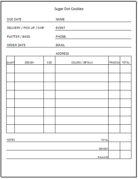 Sugar Dot Cookies Cookie Order Forms – Order Forms