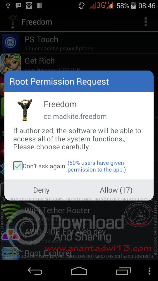 Freedom, Kebebasan Membeli Item Games/Software Secara Gratis di Android