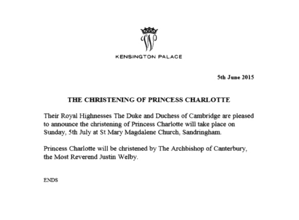 Princess Charlotte Christening Date Announced