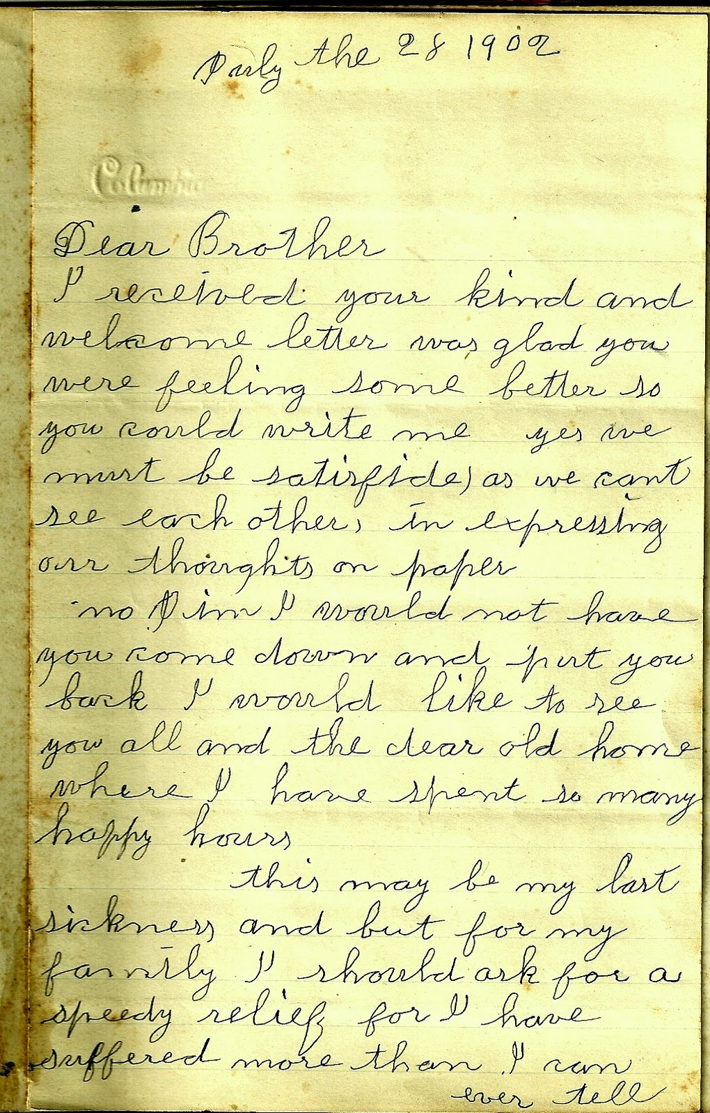 Heirlooms Reunited 1902 Goodbye Letter from Ill Rose Frazier to – Goodbye Letter