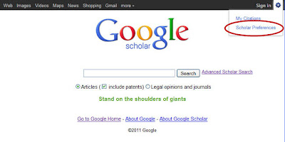 Screen capture: Google Scholar, accessing gear icon menu