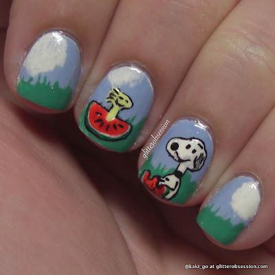 Snoopy Picnic Nail Art