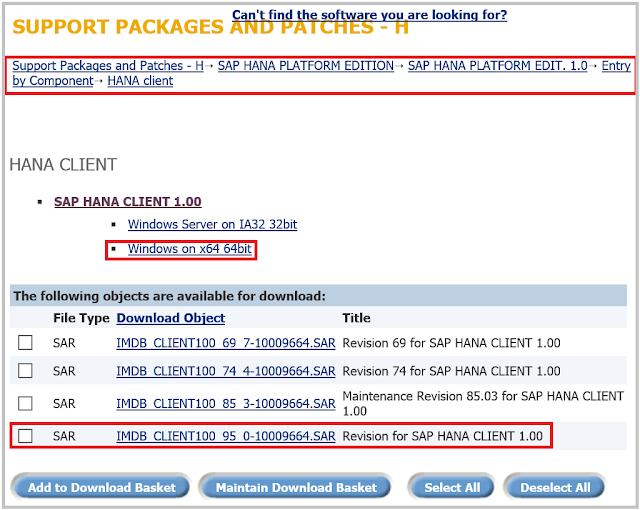 SAP HANA Client download SAP Marketplace