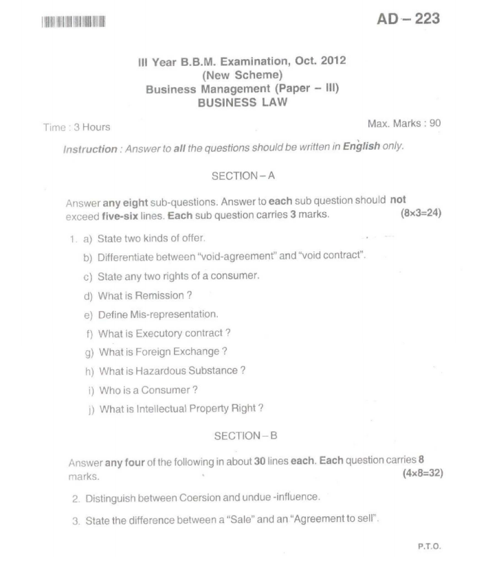 business law question papers bba