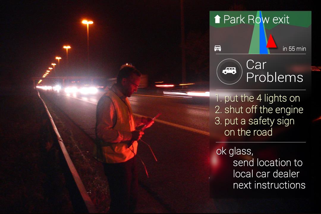 Instructies bij autopanne met Google Glass