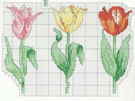 Punto cruz dise o tulipanes t cnicas de for Disenos de punto de cruz