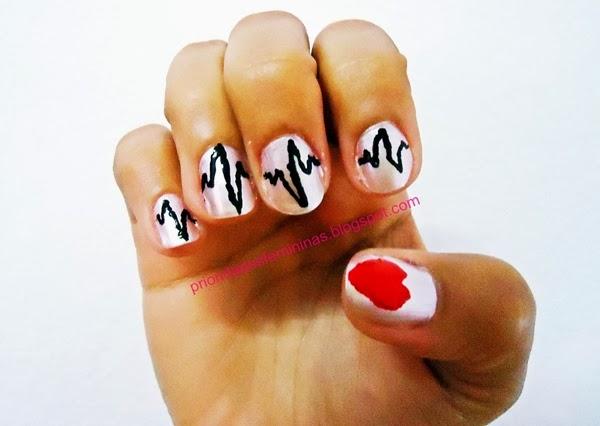nail art coração, unha artística