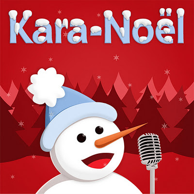Music cover with singing snowman on red background
