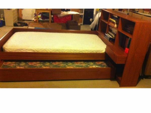 Awesome Teak Trundle Twin bed bookcase headboard newton