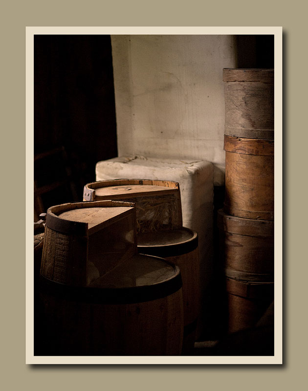 Barrels and crates in the Laskay Emporium at Black Creek Pioneer Village.  Holly Cawfield Photography