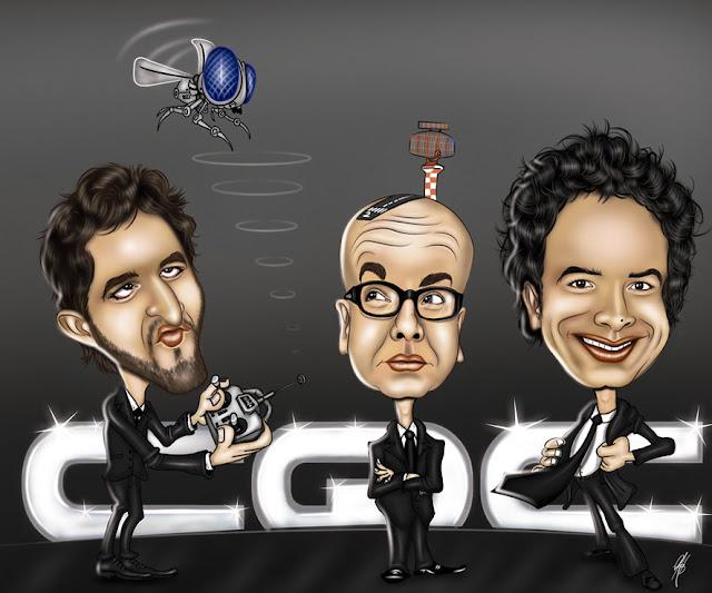 Caricatura dos apresentadores do CQC rafinha, marcelo tas, Marco Luque