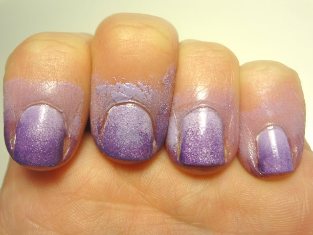ombre purple nails, second coat, before cleanup