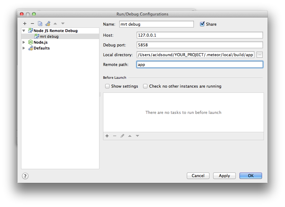 how to create a new meteor app webstorm