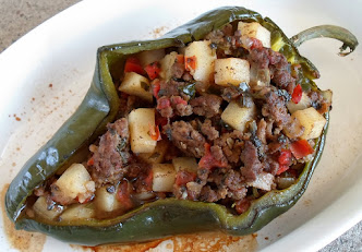 picadillo stuffed poblanos
