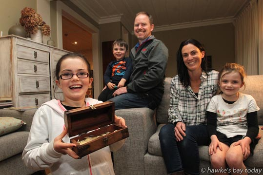 L-R: Lana Chrystall, Havelock North, with her fundraising family, Ben Chrystall, Nick Chrystall, Sonia Chrystall, Heidi Chrystall, have raised hundreds of dollars for the  Limitless Hope Emergency Shelter Appeal. photograph