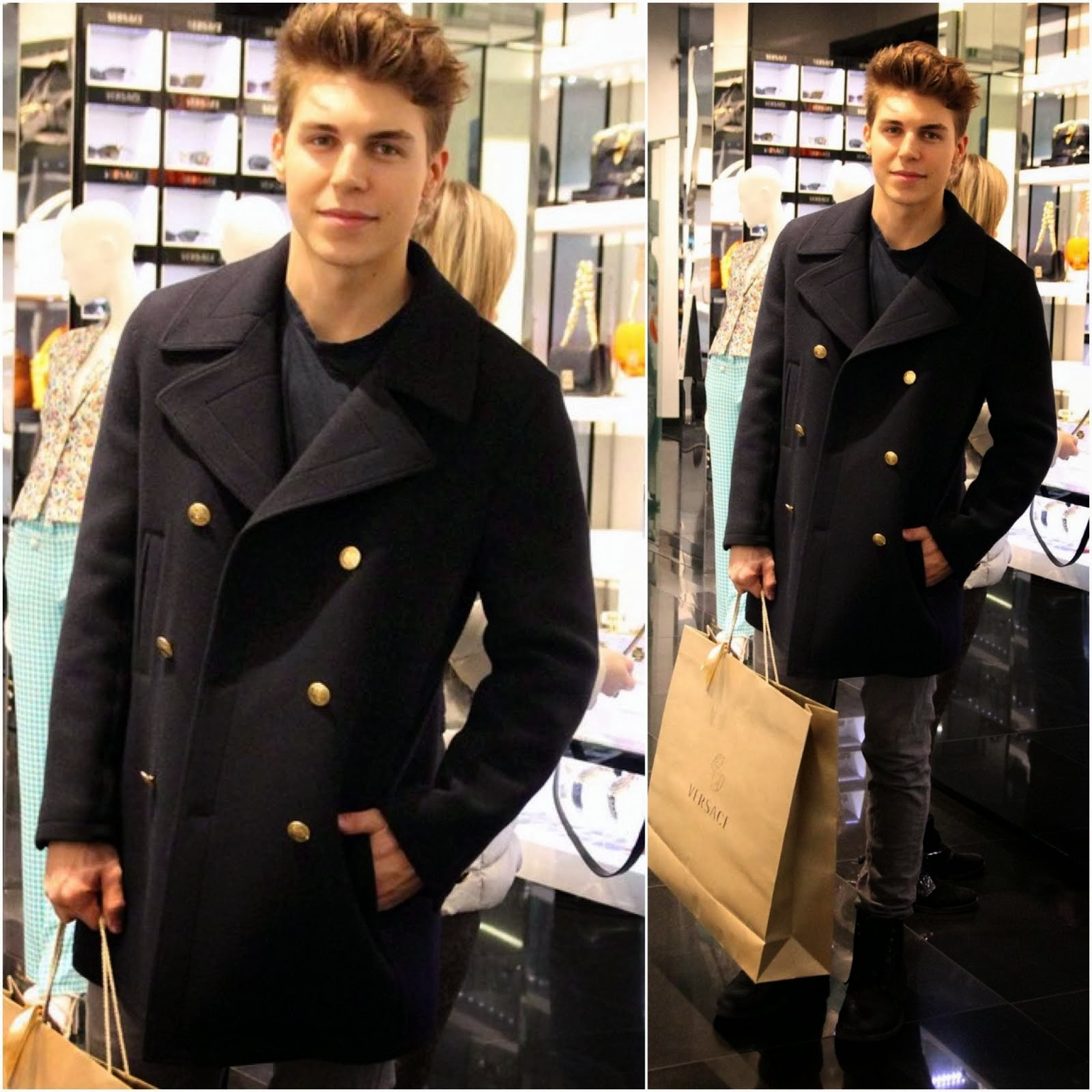 Nolan Gerard Funk in Versace - Milan Fashion Week FW2014