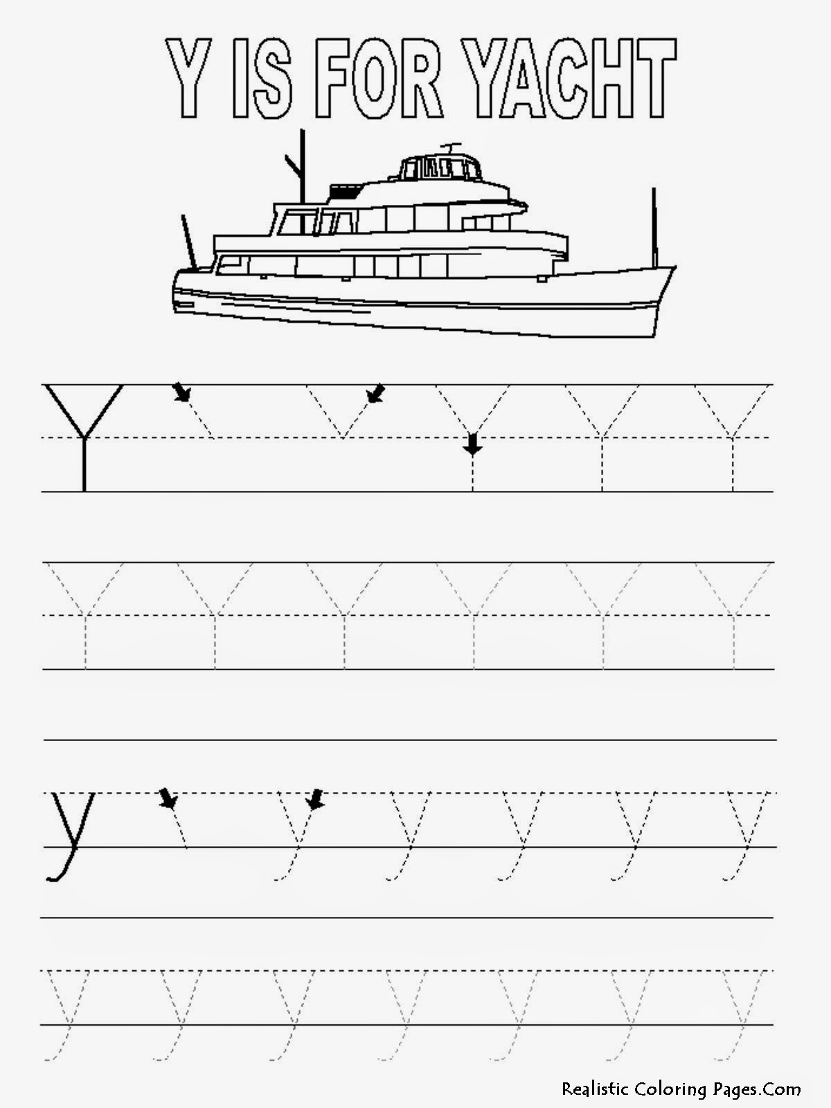 Alphabet Tracer Pages Y Yacht