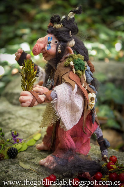 ooak doll fantasy creature Meg Berriebag healer goblin