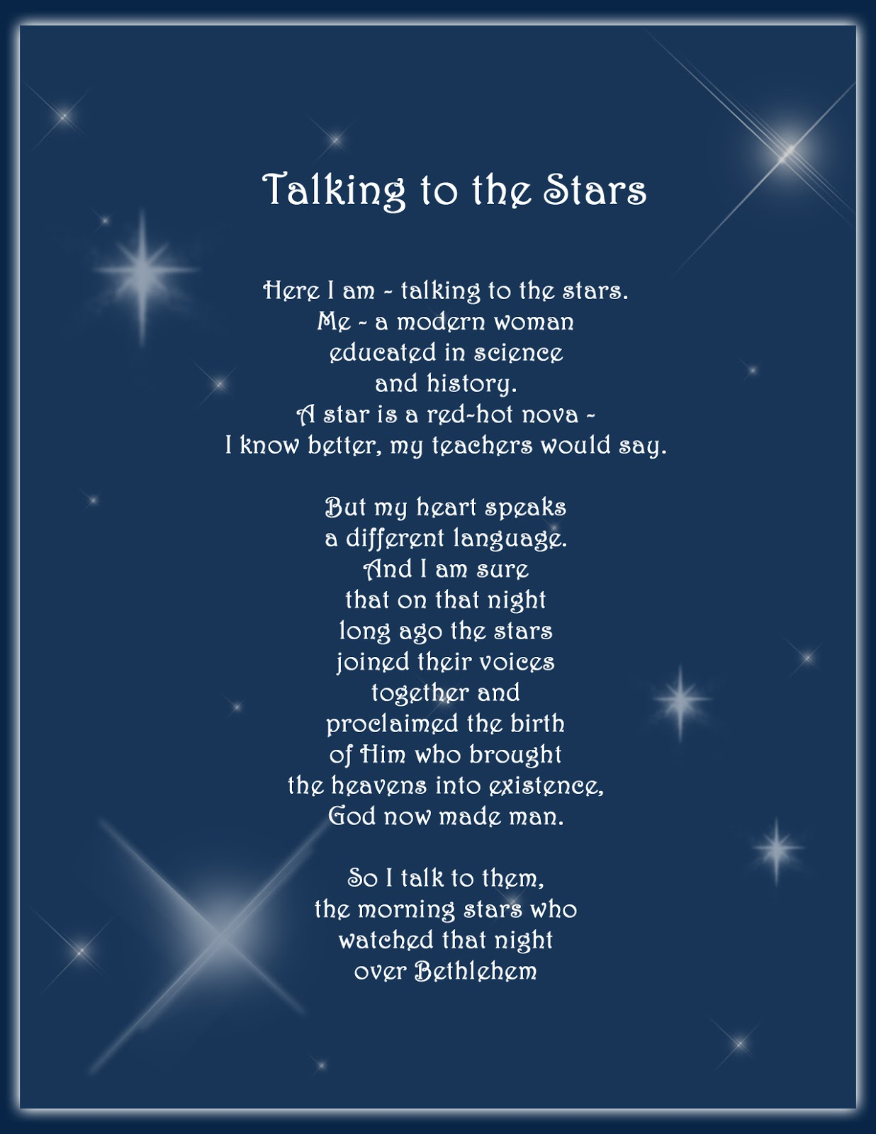 LDS Poetry by Loretta Harbertson: Talking to the Stars