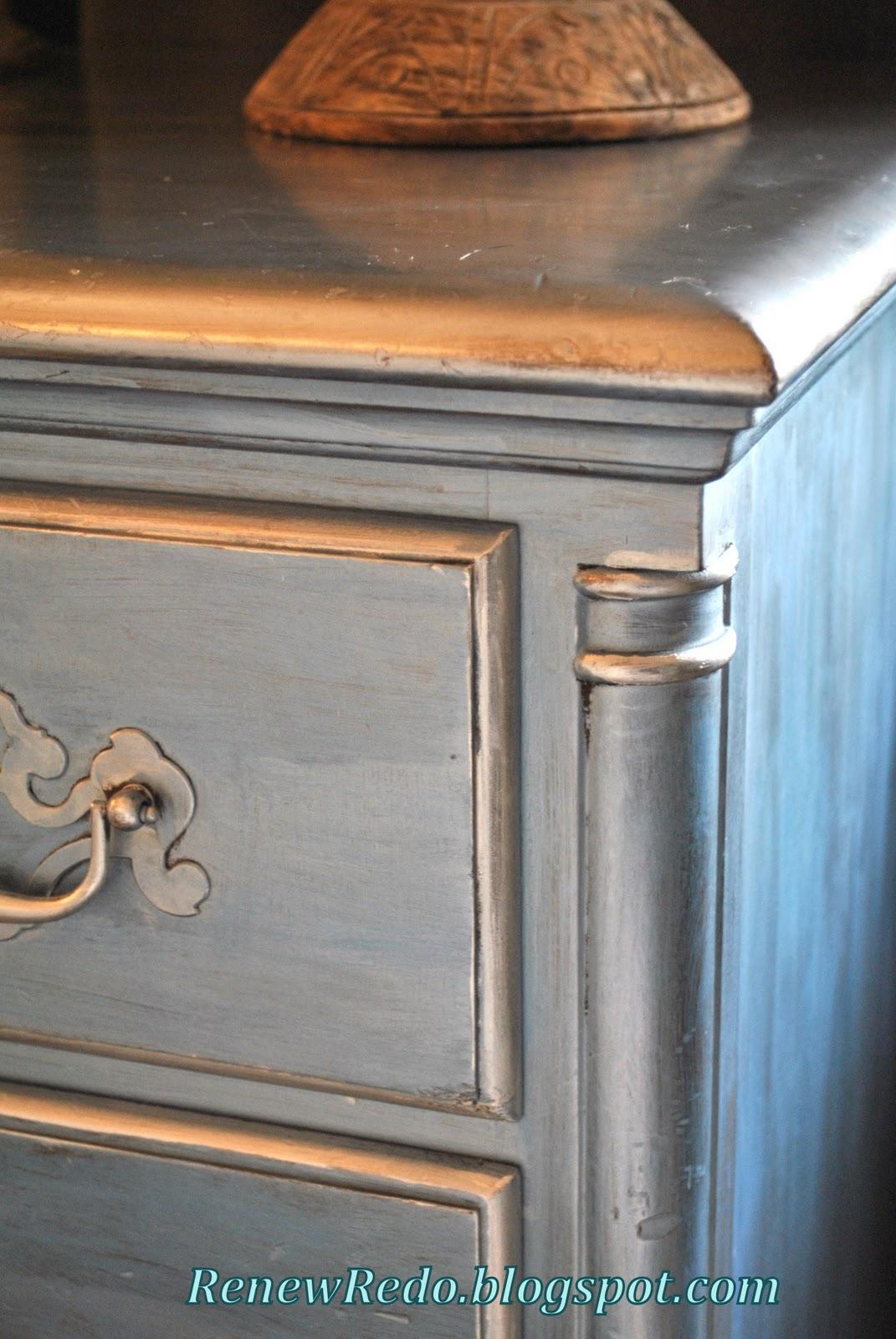 Renew Redo Pearl Blue And Silver Leaf Desk Redo Rub