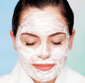 White cream face mask.