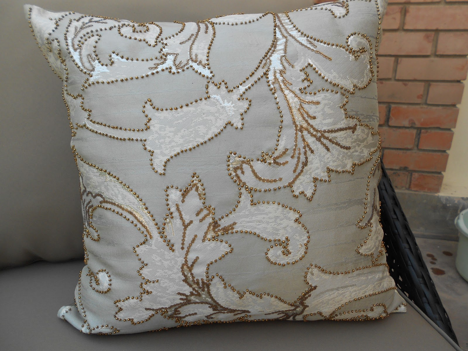 Ribbons and spoons: silver grey sofa throw and accent pillow cover