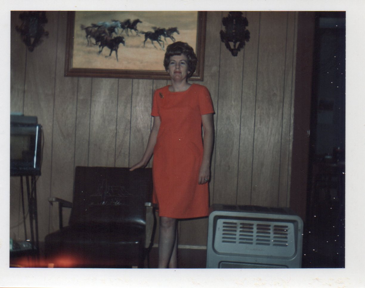 Ready for work in dress I sewed in younger years.