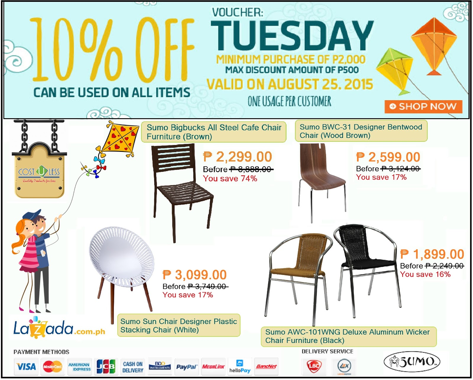 Get 10% Discount On Sumo Bar Restaurant Chairs At Lazadau0027s Tuesday Promo