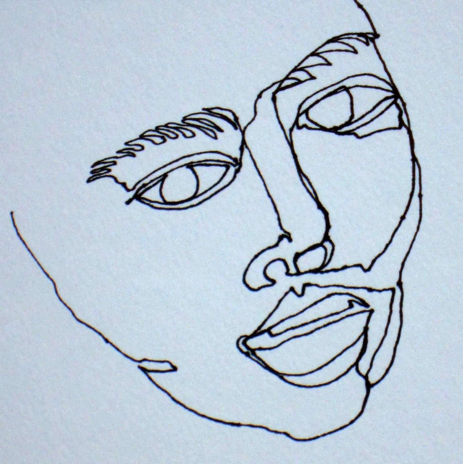 One Line Art Faces : Cindymichaudart continuous line drawing