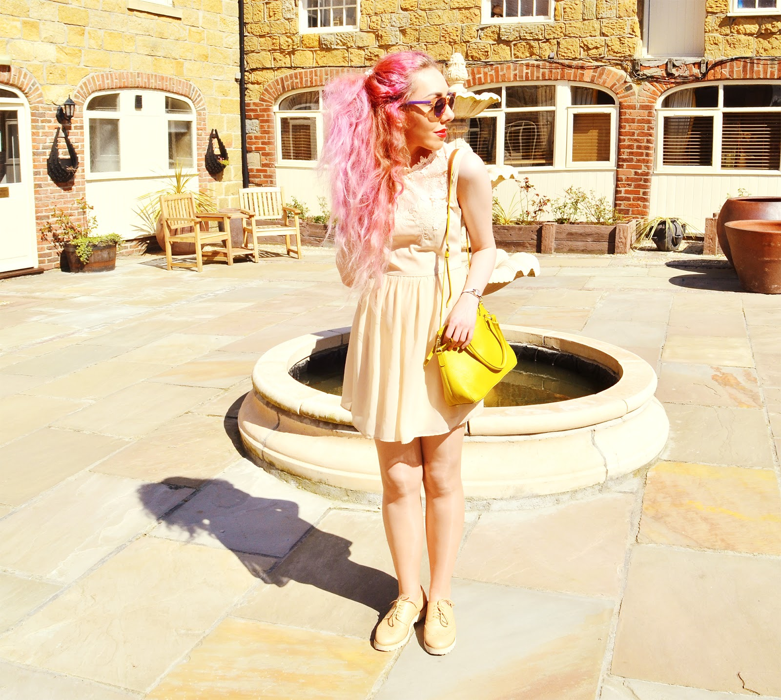 Stephi LaReine // Peach Floral Collar Summer Dress // Oasis (old) Sulphur Yellow Leather Bag * // Boden Clothing DKNY Watch * // House Of Watches Beige Lace Up Platform Brogues * // StyleEdit Carrera Purple Mirrored Sunglasses * // Sunglasses Shop
