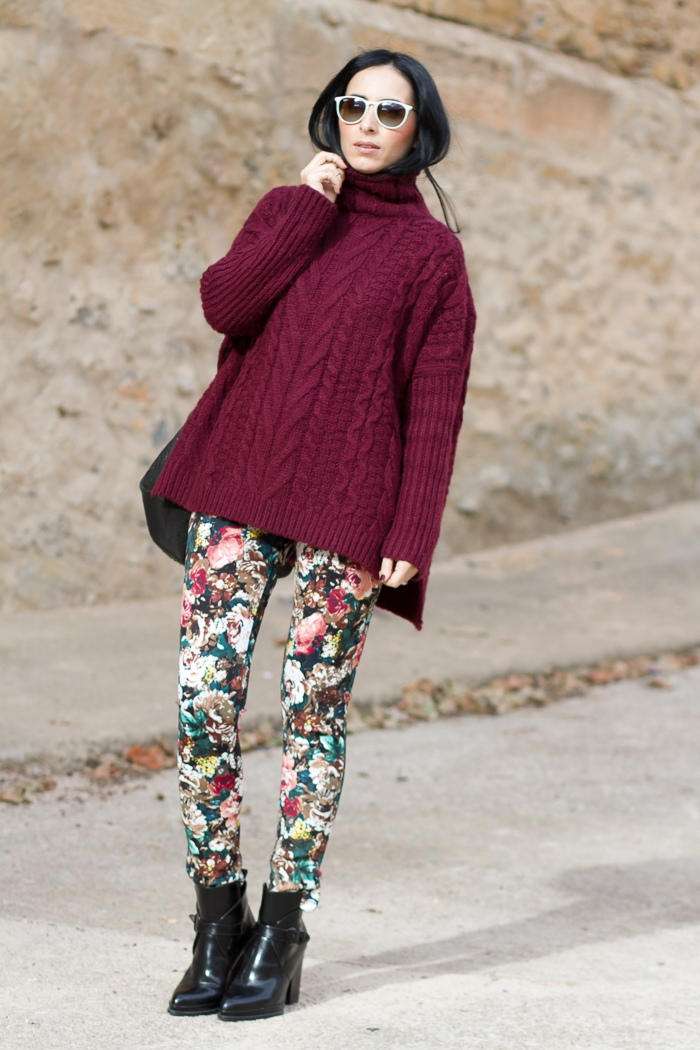 Floral Neoprene Pants and Burgundy Turtleneck
