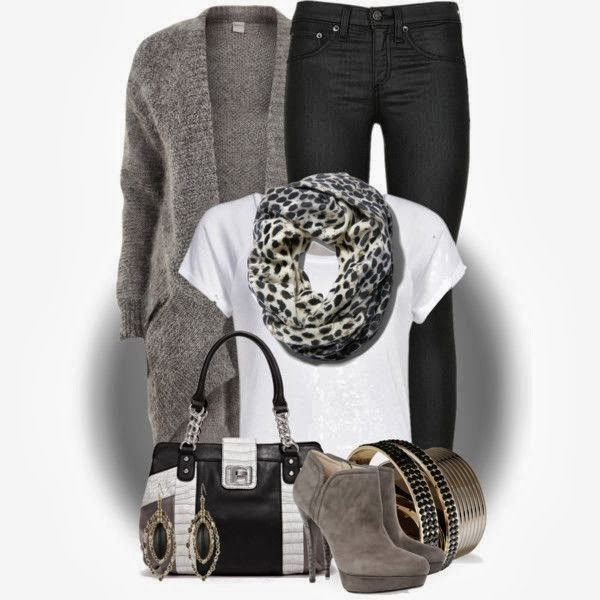 Grey cardigan, black pants, white blouse, cheetah scarf and shoes for fall