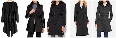 Romwe Drape Front Suede Coat with Belt $28.00 (regular $52.58)  Rachel Roy Faux Leather Sleeve Trench Coat $59.97 (regular $220.00) - almost sold out!  New York & Co NY Trench Coat $69.96 (regular $99.95)  Halogen Wrap Front Long Trench Coat $118.80 (regular $198.00)  Lauren Ralph Lauren Single Breasted Skirted Trench Coat $127.30 (regular $190.00)