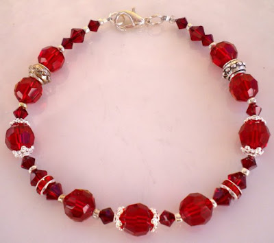 Christmas Bracelet of Ruby Siam Swarovski Crystals