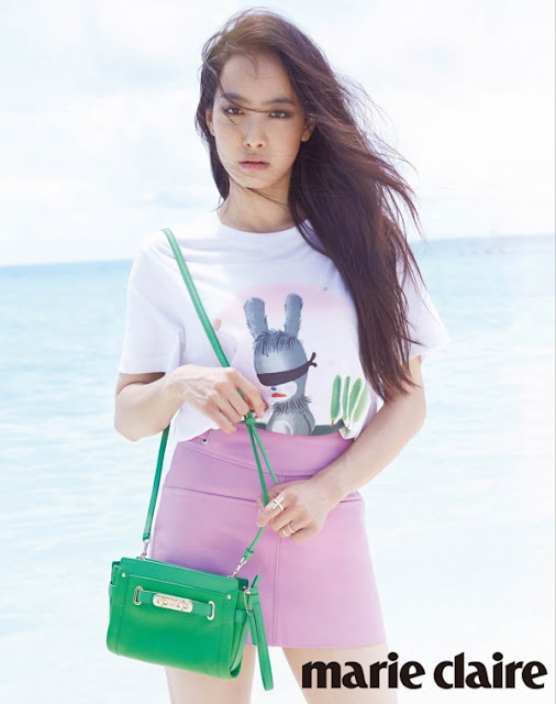 Victoria Song f(x) Marie Claire White Tee and Pink Skirt