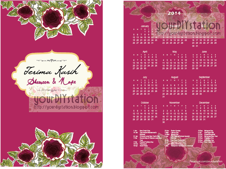 DO IT YOURSELF: Pocket Calendar 500 pieces at RM100+ Design