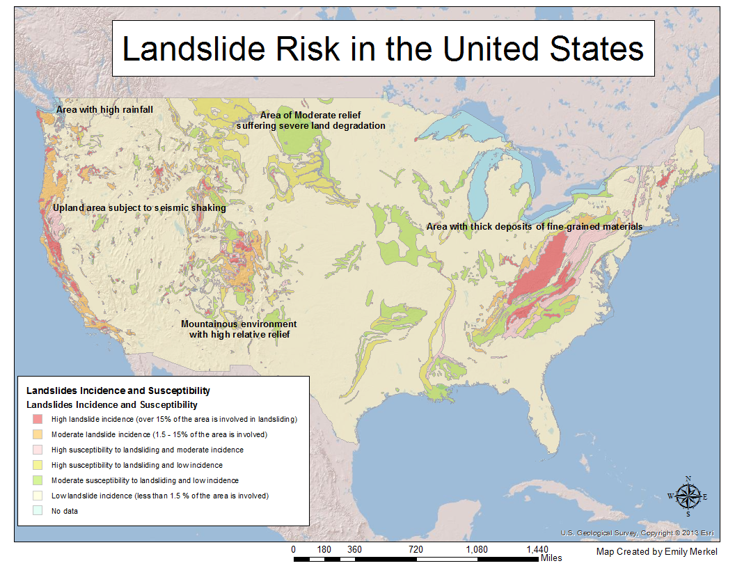 this map shows areas of risk for landslides in the conterminous united states five areas are highlighted under specific categories that explain the risk in