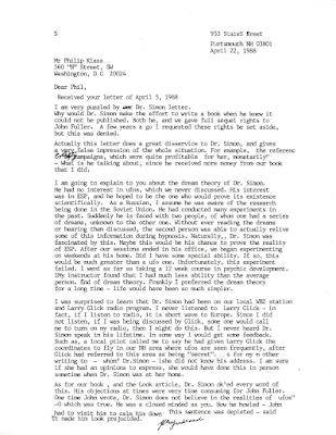 Letter To Phil Klass From Betty Hill 4-22-1988
