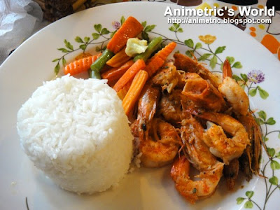 Garlic Shrimps with Rice and Steamed Veggies at Bag of Beans Coffee Shop, Restaurant, and Bakery